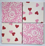 4 Ceramic Coasters in Emma Bridgewater Pink Wallpaper and Hearts
